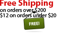 Free shipping for orders totaling $200 or more